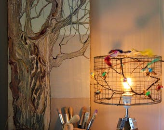 Wire lampshade etsy birdcage bird decor lampshade with industrial style tripod table lamp base in a wooden finish greentooth Image collections