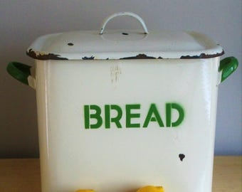 Vintage 1930s Enamel Bread Bin