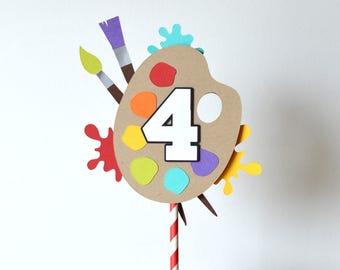 Cake Topper | Birthday Party | Art Theme | Paint Theme
