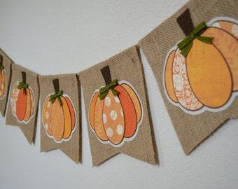 Burlap Pumpkin Banner for Fall Thanksgiving Decor Photo Shoot Prop