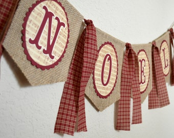 Rustic Country Noel Burlap Banner for Christmas Decor Photo Shoot Prop