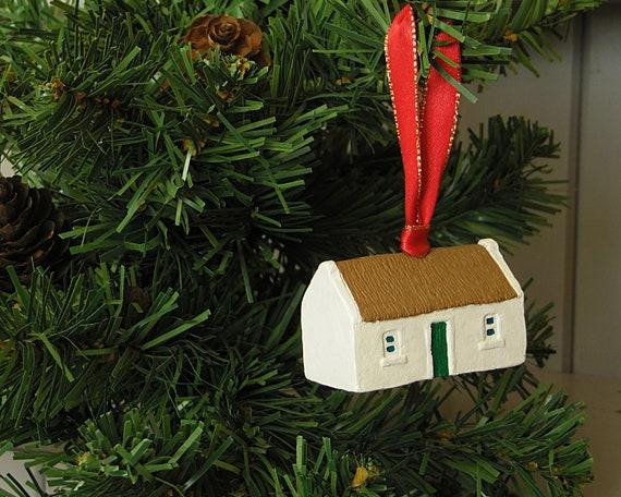 Irish Christmas.Irish Christmas Irish Gift Irish Heritage Miniature Thatched Irish Cottage Christmas Tree Decoration Design 1