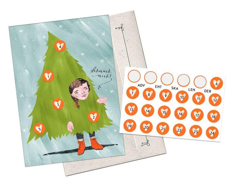 Weihnachtskalender Tannenbaum.Adventskalender Postkarten A6 Mädchen Tannenbaum Schmück Mich Adventskalender Weihnachtskalender Postkarte Herz