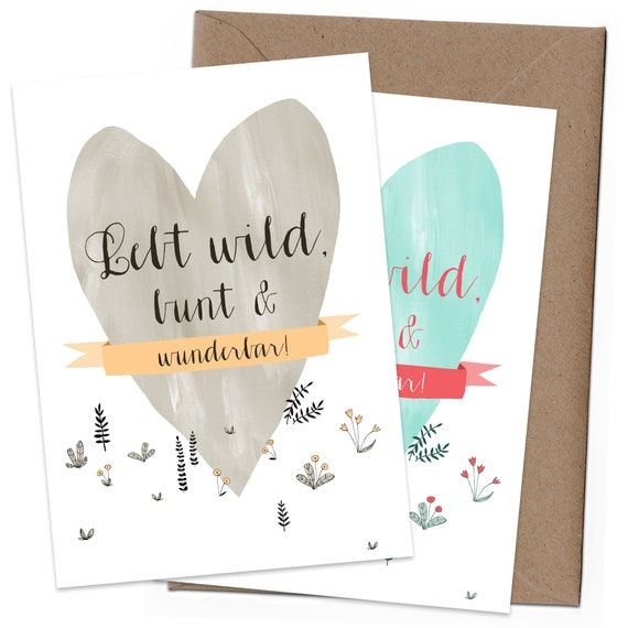 Congratulations Greeting Card Transparency Mint Mia  A6 Folding Card Many Colorful Hearts Wedding Card Green with Envelope