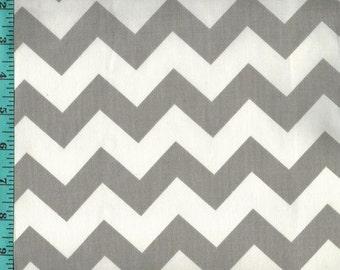 Chevron Zigzag Gray/White Fabric Quilting Crafting Home Decor
