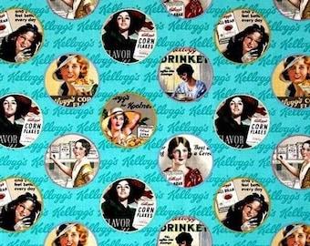 Kellogg's Ladies Vintage Round Cereal Ads Aqua, Fabic Cotton Quilting Home Decor