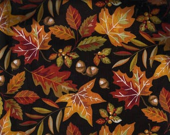 Fall Autumn Leaves Black Fabric, Quilt or Craft Fabric, Fabric