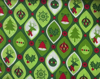 Christmas Ornaments and Deer Fabric, Quilt or Craft Cotton Fabric