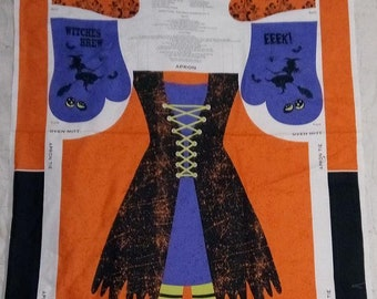 Witch Brew Oven Mitt and Apron Cotton pre-printed Fabric Panel