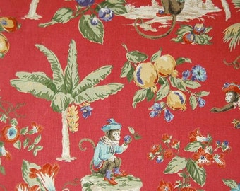 Cheeky Monkey Guava Red P/Kaufmann Printed Decorative Fabric