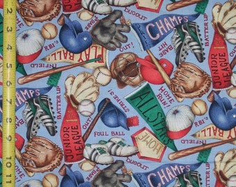 Baseball Conversational, Quilt or Craft Fabric, Fabric