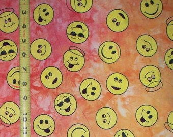 Happy Smiling Face in Yellow/Orange Fabric, Quilt or Craft Cotton Fabric