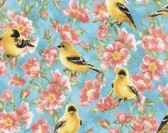 Goldfinch Turquoise, Quilt or Craft Fabric, Fabric