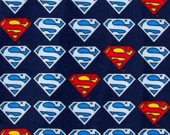 Superman, DC Comics Superman Style Logo on Blue Fabric Cotton Flannel