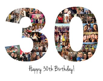 30th birthday gift number photo collage 30th anniversary party decoration picture collage custom made from your photographs