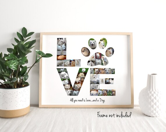 """Personalized """"Love"""" Photo Collage - Dog Birthday Gift for Owners - Custom Made with Your Digital Pictures!"""