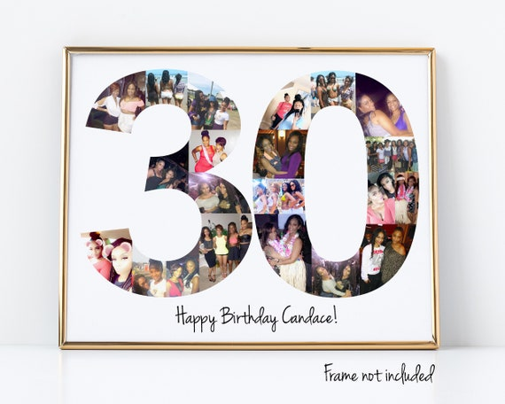 30th Birthday Gift, Number Photo Collage, 30th Anniversary Party Decoration, Picture Collage, Custom Made from your Photographs!