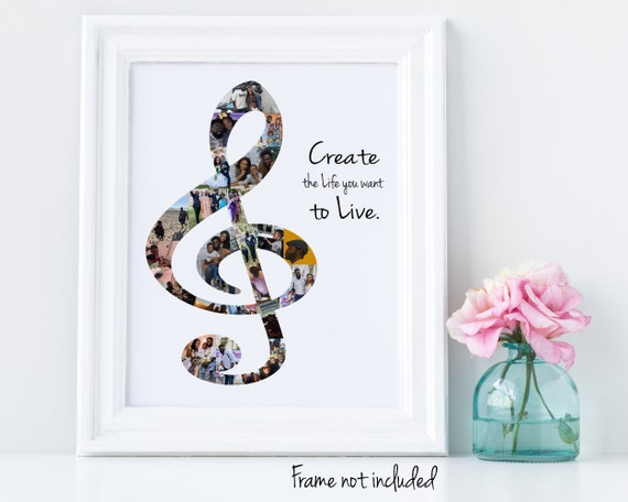 Personalized Music Wall Art Gift, Treble Clef Music Note Photo Collage - Custom Made with Your Digital Pictures!