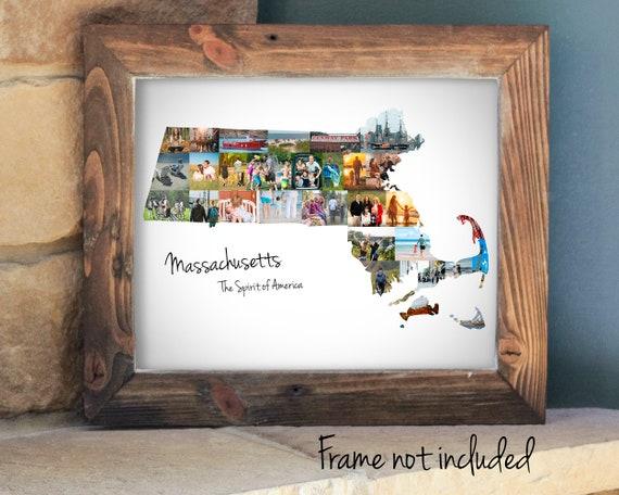 Personalized Massachusetts State Map Photo Collage, Massachusetts Wall Art, Massachusetts State Pride, Travel Souvenir