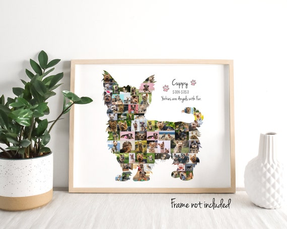 Personalized Yorkshire Terrier Photo Collage, Yorkie Dog Lover Gift, Custom Made with your Digital Pictures!