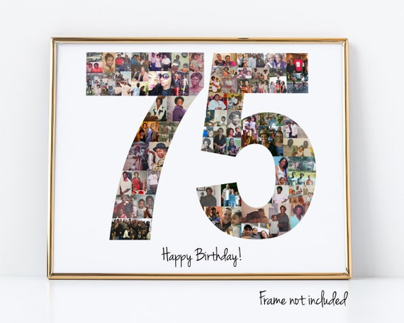 Personalized 75th Birthday Gift, Number Photo Collage, 75th Party Decorations