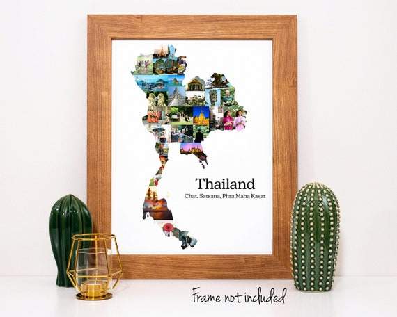Thailand Map Photo Collage - Personalized Travel Souvenir Gift - Custom Photo Collage Made with Your Pictures!
