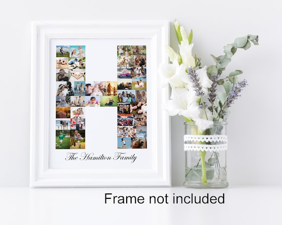 Letter H Photo Collage - Personalized Monogram Picture Collage - Birthday Wedding Gift