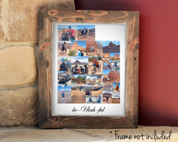 Utah State Map Wall Art Print, Personalized Utah Photo Collage, Custom Travel Souvenir - Made with your Digital Pictures!