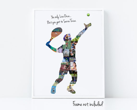 Personalized Tennis Player Photo Collage Gift for Coach