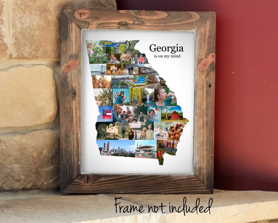 Personalized Georgia State Map Photo Collage, Custom Georgia State Wall Art Decoration - Made with your Digital Pictures!