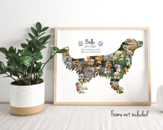 Custom Golden Retriever Photo Collage, Dog Lover Gift, Pet Memorial Gift, Personalized with your Digital Pictures!