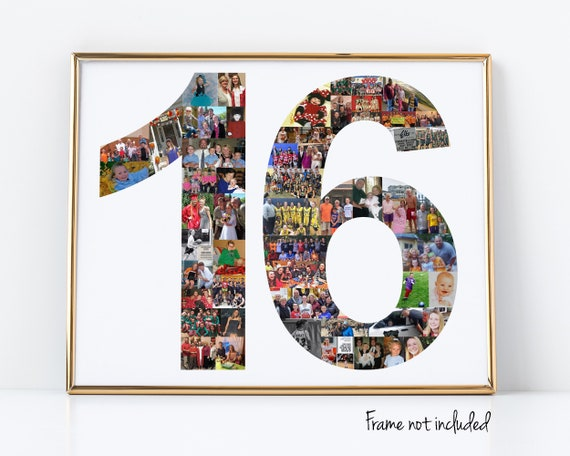 Personalized Sweet 16 Birthday Party Decoration - 16th Birthday Gift - Photo Collage Custom Made with your Photographs