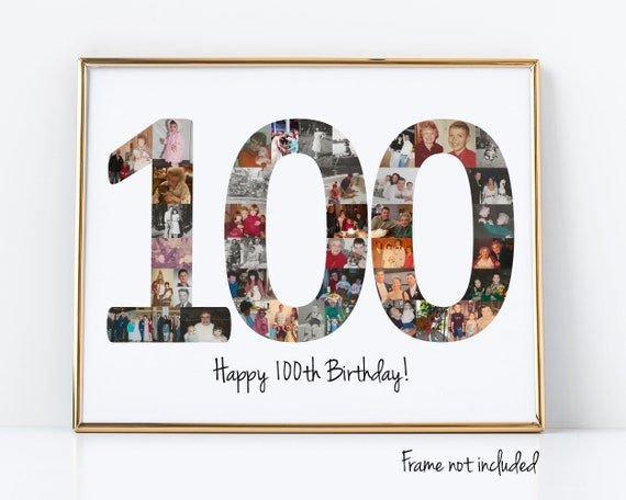 100th Birthday Party Decoration, Personalized Photo Collage Gift - Custom Made with Your Digital Pictures