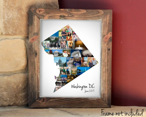 Washington DC Map Photo Collage - Personalized District Of Columbia Travel Souvenir Gift - Custom Made with your Pictures!