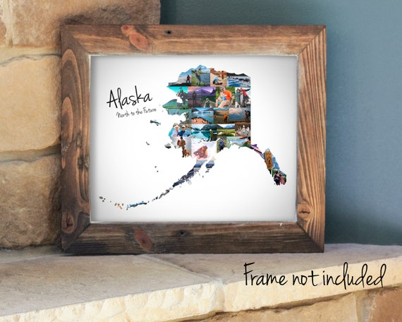 Personalized Alaska State Map Photo Collage, Travel Souvenir for an Alaskan Vacation, Alaska State Gift