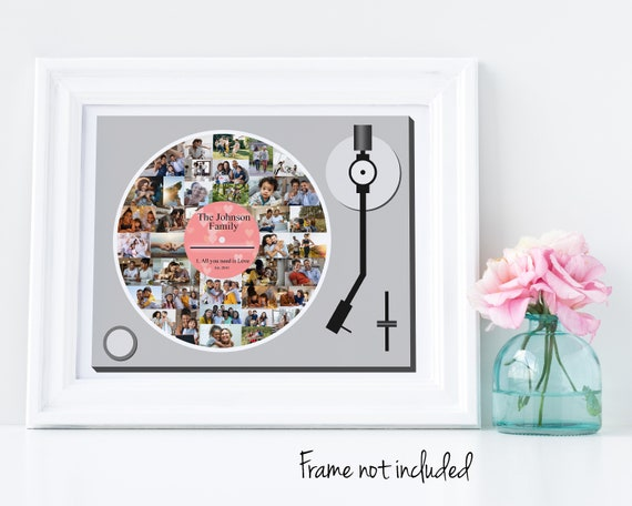Vinyl Record, Turntable Photo Collage - Gift for Him - Custom Made with your Digital Pictures