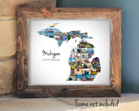 Custom Michigan Map Photo Collage, Michigan State Wall Art Gift - Personalized with Your Digital Pictures!