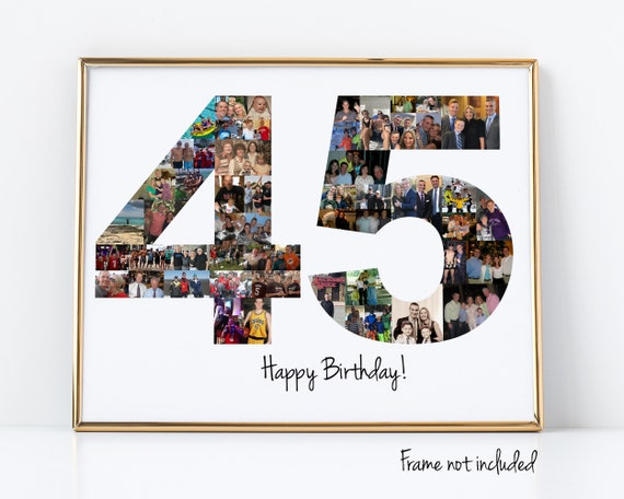 45th Birthday Gift - 45th Birthday Party Decoration - 45 Number Photo Collage - Custom Made with Your Digital Pictures!