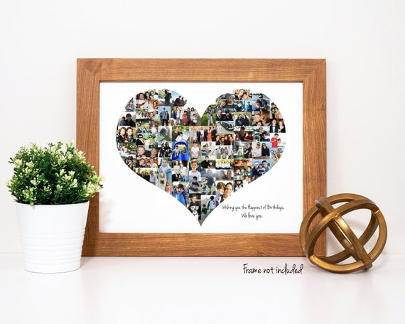 Heart Photo Collage - Personalized Keepsake Photo Gift for Her - Custom Made with Your Digital Pictures