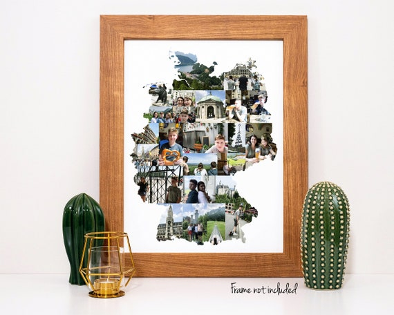 Germany Map Photo Collage, Germany Family Vacation Souvenir, Personalized Photo Collage - Custom Made from Your Digital Pictures