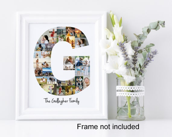 Letter G Photo Collage - Personalized Monogram Picture Collage - Birthday Wedding Gift