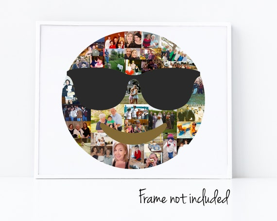 Sunglasses Emoji Photo Collage - Personalized Smiley Face Birthday Gift - Custom Made with Your Digital Pictures!