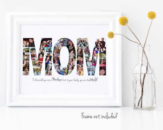 """Personalized """"MOM"""" Photo Collage - Gift for Her - Custom Made with your Digital Pictures"""