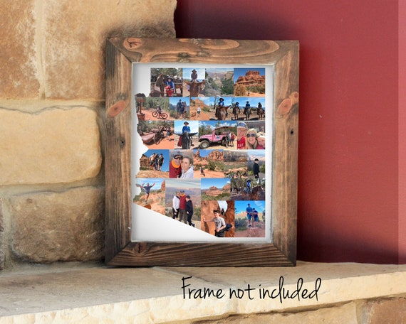 Personalized Arizona State Map Photo Collage,  Vacation Travel Souvenir Gift - Custom Made with your Digital Pictures!