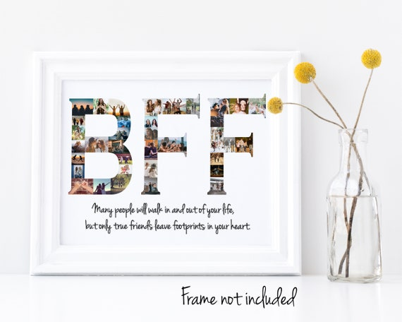 """Personalized Best Friends """"BFF"""" Photo Collage - Besties Birthday Gift - Custom Made with your Digital Pictures!"""