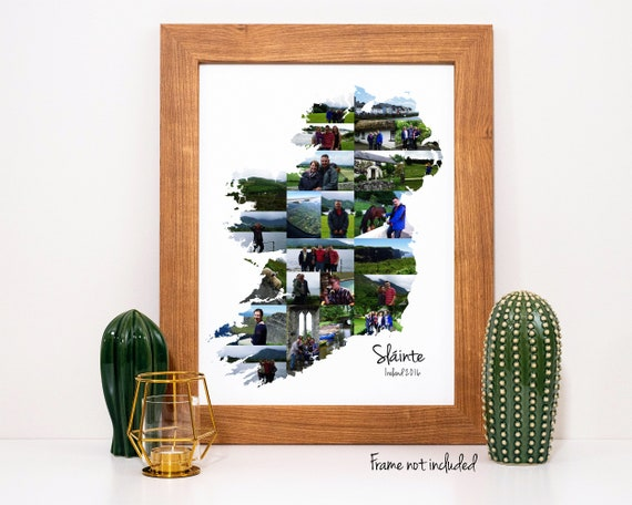 Custom Ireland Map Photo Collage, Personalized Ireland Wall Art Print Custom Made from your Digital Pictures!