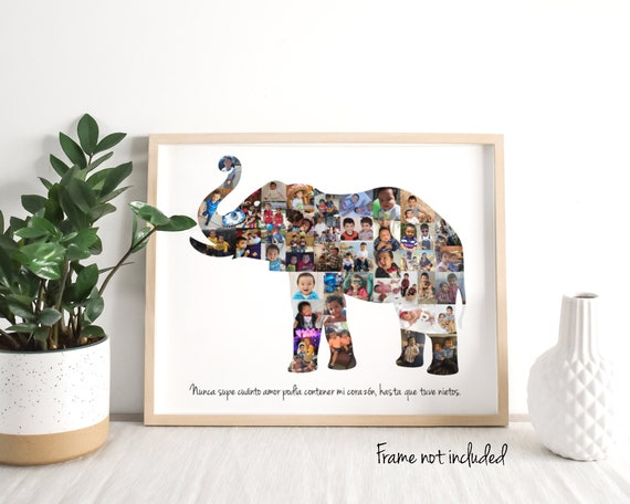 Elephant Photo Collage Gift - Elephant Nursery Wall Art Decor - Personalized with Your Digital Photographs!