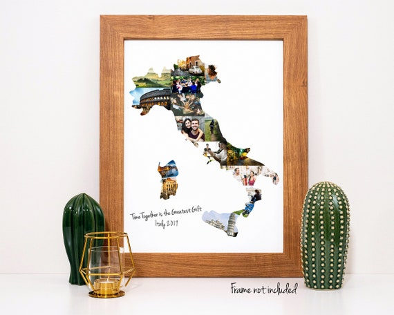 Italy Map Photo Collage, Italy Family Vacation Souvenir, Personalized Photo Collage - Custom Made from Your Digital Pictures