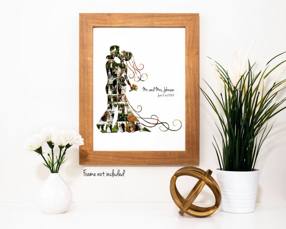 Personalized Bride and Groom Photo Collage - Wedding Gift- Custom Made with your Digital Pictures!