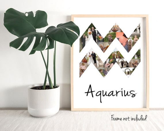 Custom Aquarius Zodiac Sign Photo Collage, Personalized Birthday Astrology  Horoscope Photo Gifts - Made with your Digital Pictures!